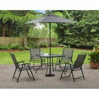 Modern Outdoor Patio Dining Furniture Folding Table Chairs Set of 4 w Umbrella
