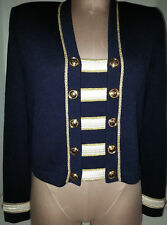 St John Collection By Marie Gray stripped Navy Crop Top CardiganJacket sz 6 Gold