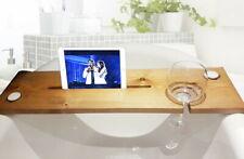 Wooden Bath Caddy Tray Bathtub Board Shelf Wine Glass & Candle & Tablet Holder