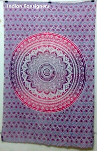 Pink Color Flower Omber Mandala Print Picture Twin Cotton Tapestry 100%Beautiful