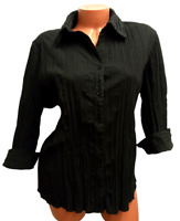 Apt. 9 black 3/4 sleeves women's plus size buttoned down crinkle top 2X