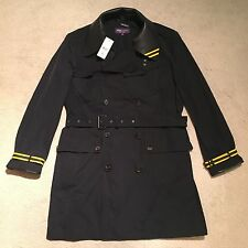 Ralph Lauren Purple Label Leather Trim Trench Coat - Navy Size XL RRP: £2,495.00