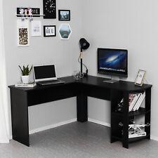 L-shaped Corner Computer Desk PC Table Workstation Home Office Furniture Black