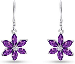 Simulated Amethyst Flower Drop Earrings 14k White Gold Over Sterling Silver