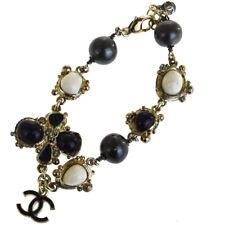 Authentic CHANEL CC Color Stone Rhinestone Chain Bracelet 08A Gold-Tone 34EQ664