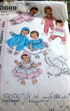 """GREAT VTG 1960s 20"""" DOLL CLOTHING SEWING PATTERN"""