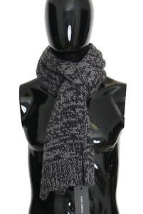 NEW $850 DOLCE & GABBANA Scarf Black Gray 100% Cashmere Patterned s. 180x30cm
