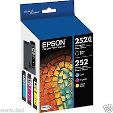 New, Epson 252XL 252 Combo Pack Black XL and C/M/Y Standard Capacity Cartridges