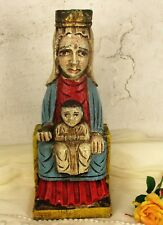 Polychrome Vintage Sitting Virgin Mary Madonna Child Carved Wood Statue  WOW HTF