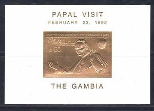 "1992 GAMBIA sheet ""Pope Papal visit John Paul"" D50 gold, Rare"