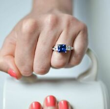Certified 2.75Ct Princess Blue Sapphire Engagement Ring in Solid 14K White Gold