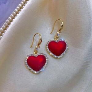 Fashion Gold Red Ball Heart Crystal Earrings Women Drop Dangle Jewelry Xmas Gift