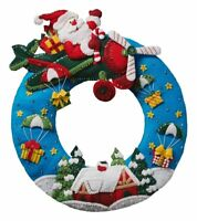 Bucilla 'Airplane Santa' Christmas Wreath, Felt Stitchery Appliqué Kit, 86838