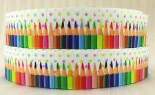 RUBAN GROS GRAIN IMPRIMÉ ** 25 mm ** CRAYON COULEUR Multicolore ÉCOLE / 1 mètre