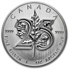 1 oz 999 Maple Leaf 2013 25th Anniversary Silber Silbermünze Bullion NEU Top