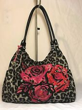 Brighton Zebra Black Nylon Embroidered Tote Large Shoulder Purse Carry all bag