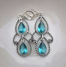 Topaz Leverback Sterling Silver Fine Earrings
