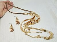 Beige Matte Gold Tone and Amber Multi Strand Long Necklace and Dangle Earring Se