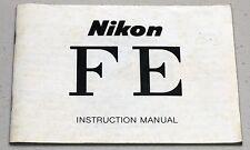 NIKON FE Camera Guide Manual Instruction Photography Book