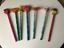 Vintage Retro Souvenir Animals Fruits Wooden Topper Pencils School Chinese Used