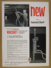 1958 IR Ingersoll-Rand Vacujet Stoper miner roof bolting photo vintage print Ad