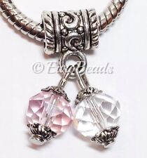 Pink & Clear Crystals_Bead Fits Silver European charm bracelet_Valentine_Q6