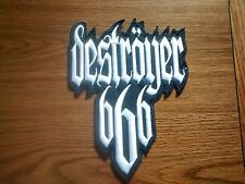 DESTROYER 666,SEW ON WHITE EMBROIDERED LARGE BACK PATCH