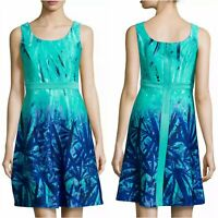 Neiman Marcus Fit Flare Dress Womens XL Turquoise Blue Sleeveless Scoopneck