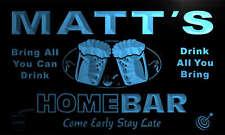p331-b Matt's Personalized Home Bar Beer Family Name Neon Light Sign