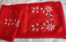 Red Snowflake HAND EMBROIDERED Table Runner, Table Mats (Napkins), Apron