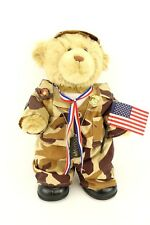 Build A Bear BABW Soldier Doll Plush Desert Camo Marine Pin DogTags USA Flag Toy