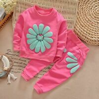 2PCS Toddler Kids Baby Girl Outfit Long Sleeve Dress Tops+Pants Clothes Suit New