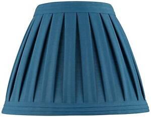 """Deep Blue Teal Linen Box Pleat Medium Empire Lamp Shade 7"""" Top x 14"""" Bot x 11"""" H"""