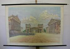 Belles anciennes écoles carte classicisme stilkunde architectural 109x76cm vintage ~ 1960