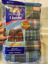 New Fruit of the Loom Boy's Tartan Plaid Woven Boxer Underwear (Pack of 5)