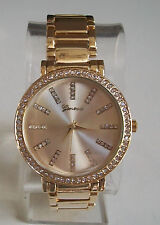 Geneva Gold Finish Designer Style Crystal  Boyfriend Fashion Watch