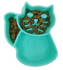 Blue Small Interactive Slow Feed Cat Food Bowl FUN, stop choking and bloating