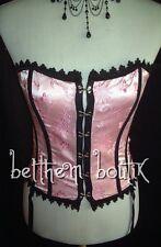 Goth : Top CORSET + String ROSE & Blanc Fleurs Gothique