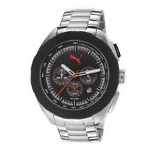 Puma Men's PU103251002 Silver Color Black Dial Stainless Steel Analog Watch