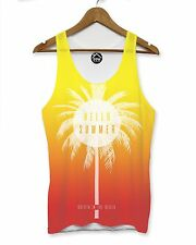 Hello Summer Orange Red Vest Mens Palm Party Holiday Singlet Sleeveless Tank 106