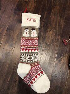POTTERY BARN KID Classic Fair Isle Knit Snowman CHRISTMAS STOCKING Mono Katie