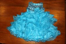 NEW Size 4 Flower Girl Party Formal Pageant Dress Bright Blue Sequins Ruffles
