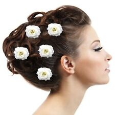 Juego de 5 pasadores Marfil Blanco ROSAS GRAN flores Comunión Boda