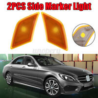 Amber LED Side Marker Indicator Light Cover For Benz W204 C-Class C25