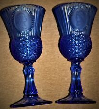 EMBOSSED WITH GEORGE/MARTHA WASHINGTON COBALT BLUE GLASS FOOTED GOBLETS