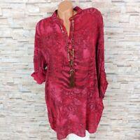 MADE IN ITALY Blusenkleid Tunika Kleid Leoparden Animal Print oliv-grün 38 40 42