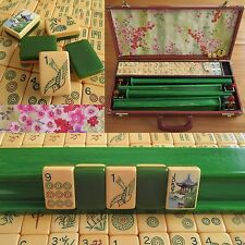 Vtg, Green Two-Tone Ivorycraft Catalin Mahjong Set, 152 Tiles, Case Mah Jongg