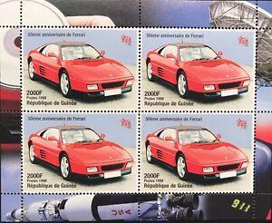 GUINEA FERRARI STAMPS SHEET 1998 MNH 50TH ANV OF FERRARI CLASSIC RACE SPORTS CAR