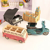 DIY Wood Storage Box Desk Organizer Craft Decor Cosmetic Makeup Stationery Case#