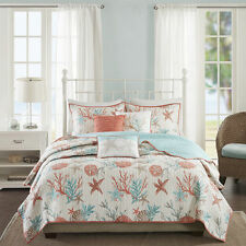 BEAUTIFUL BEACH CORAL SEA COAST SAND SHELL WHITE BLUE AQUA CORAL COZY QUILT SET
